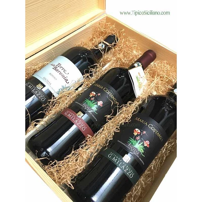 Scatola regalo in legno per una bottiglia di vino con accessori